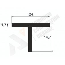 Алюминиевый Т профиль тавр 24х14,7х1,7 - БП  1840 1
