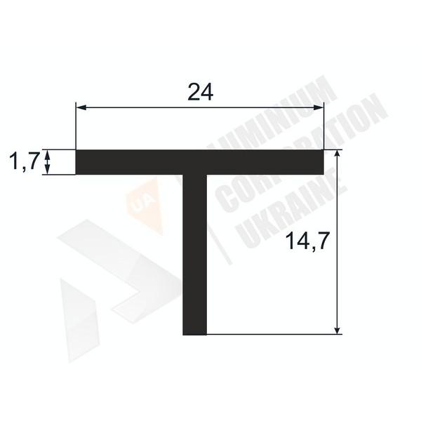 Т-образный профиль (Тавр алюминиевый) | 24х14,7х1,7 - БП  37-0016