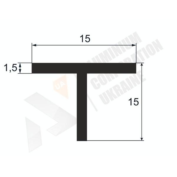 Т-образный профиль (Тавр алюминиевый) | 15х15х1.5 - БП 8