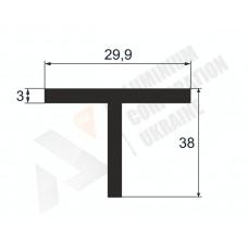 Алюминиевый тавр 38х29,9х3 1364 1