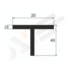 Алюминиевый тавр 40х20х2 - АН 00226 1