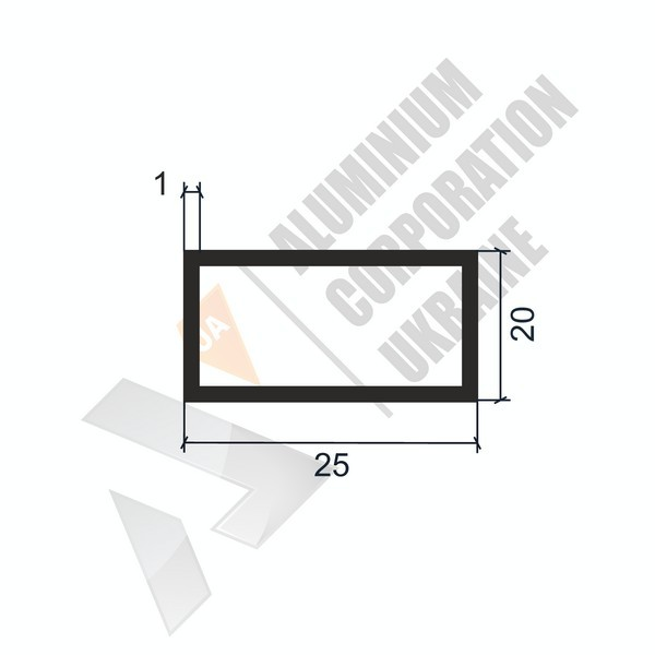 Алюминиевая труба прямоугольная 25х20х1 - АН 00202