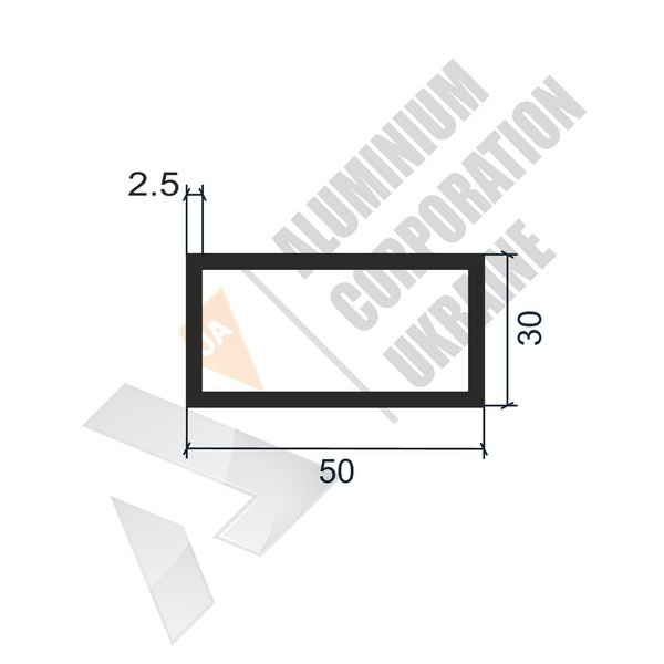 Алюминиевая труба прямоугольная 50х30х2,5 967