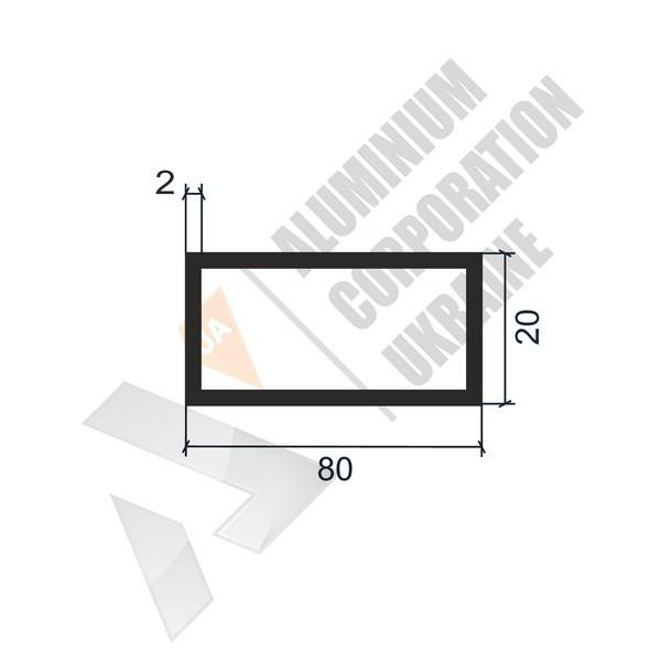 Алюминиевая труба прямоугольная | 80х20х2 - БП 00024