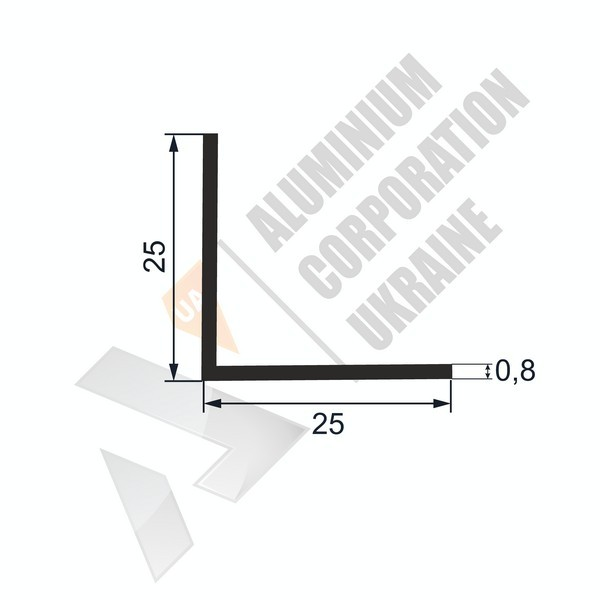 Уголок алюминиевый 25х25х0,8 - АН 00209