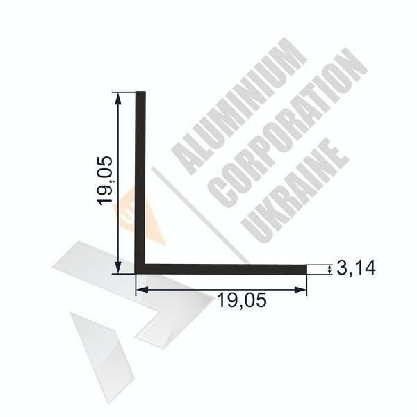 Уголок алюминиевый  | 19,05х19,05х3,14 - АН SX-WM1916-77