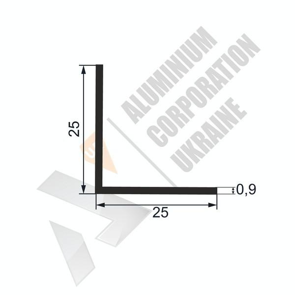 Уголок алюминиевый | 25х25х0,9 - АН 16-0077