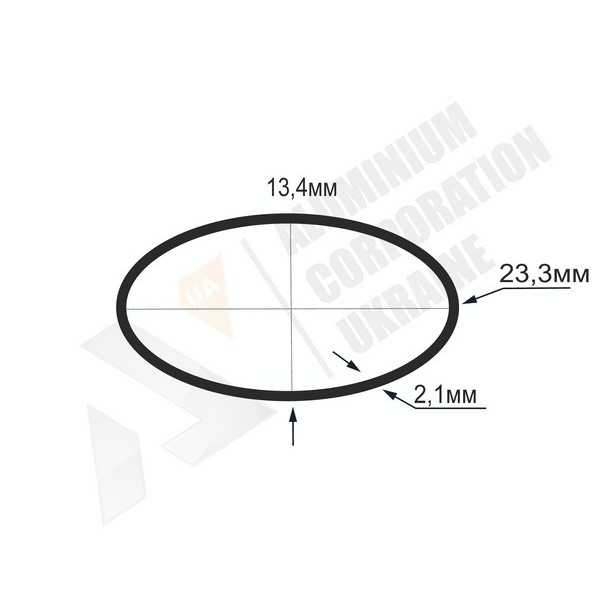 Алюминиевая труба овальная | 23,3х13,4х2,1 - АН chi