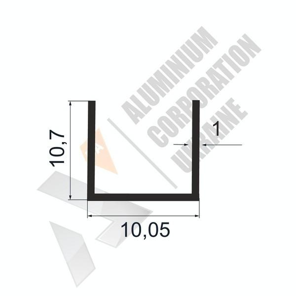 Алюминиевый швеллер П-образный профиль | 10,05х10,7х1 - АН А-2208-25