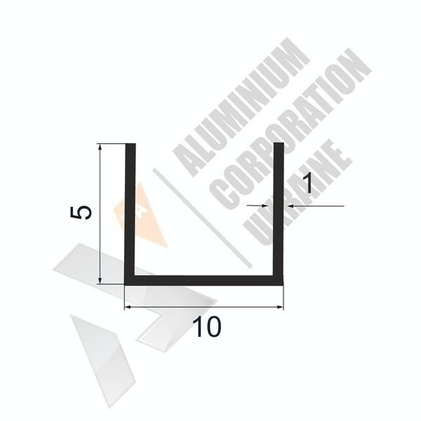 Алюминиевый швеллер П-образный профиль | 10х5х1 - АН 28-0019