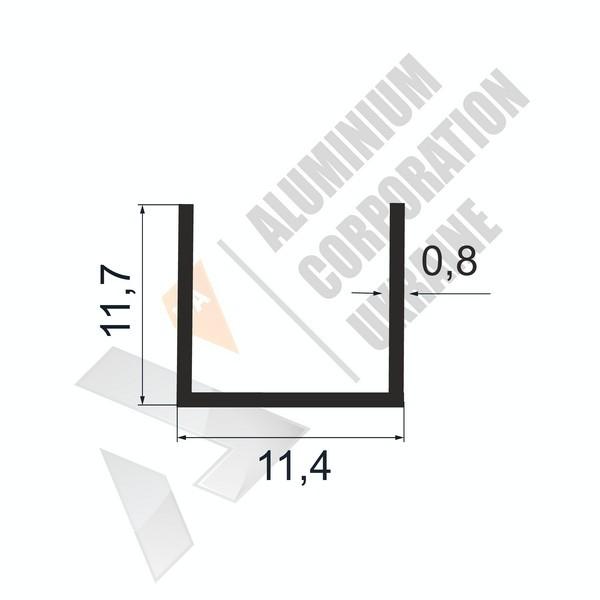 Алюминиевый швеллер П-образный профиль | 11,7х11,7х0,8 - БП АК-99999-36