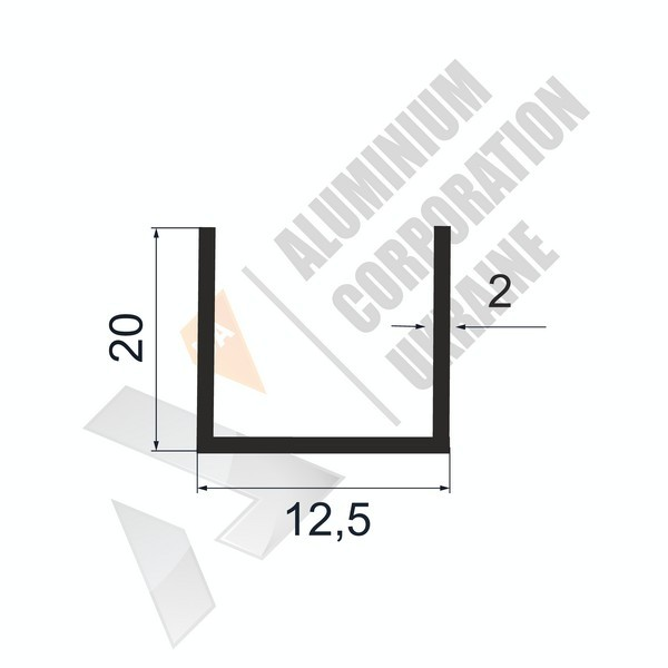 Алюминиевый швеллер П-образный профиль | 12,5х20х2 - БП АК-100003-62