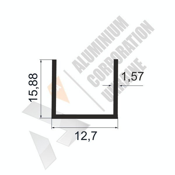 Алюминиевый швеллер П-образный профиль | 12,7х15,88х1,57 - АН 28-0071