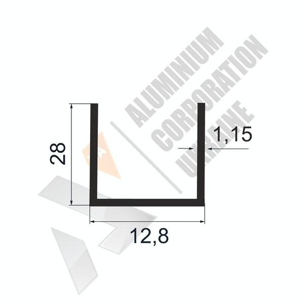 Алюминиевый швеллер П-образный профиль | 12,8х28х1,15 - БП АК-100045-68
