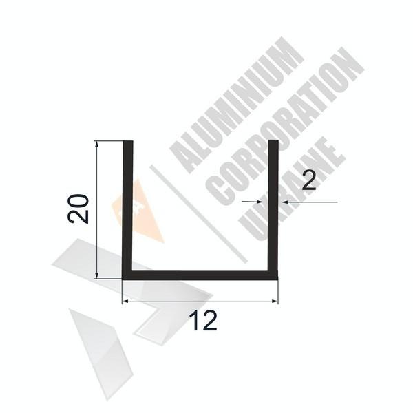 Алюминиевый швеллер П-образный профиль | 12х20х2 - АН 28-0056