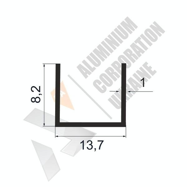 Алюминиевый швеллер П-образный профиль | 13,7х8,2х1 - БП АК-100005-74