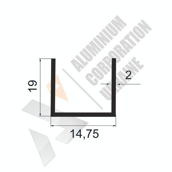 Алюминиевый швеллер П-образный профиль | 14,75х19х2 - БП АК-100010-88
