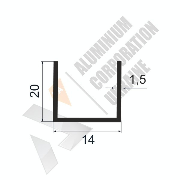 Алюминиевый швеллер П-образный профиль | 14х20х1,5 - БП ПАС-1899-82