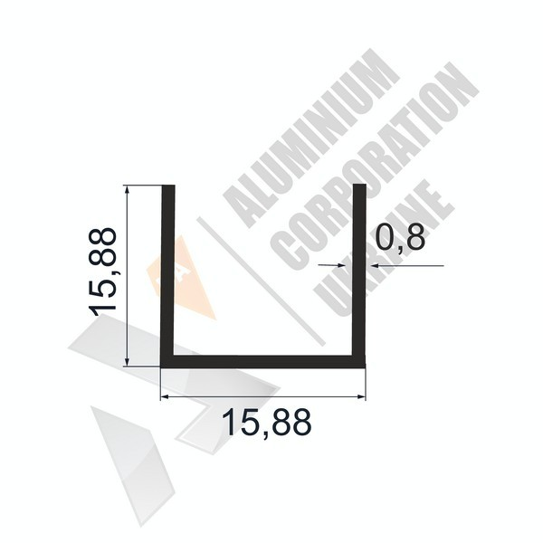 Алюминиевый швеллер П-образный профиль | 15,88х15,88х0,8 - БП 27-0121