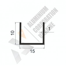 Алюминиевый швеллер П-образный профиль <br> 15х10х1 - АН АВА-3858-89 1