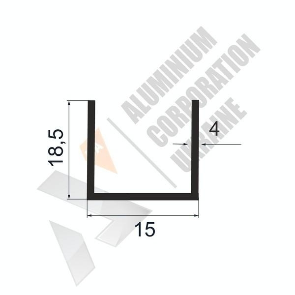 Алюминиевый швеллер П-образный профиль | 15х18,5х4 - АН 28-0106