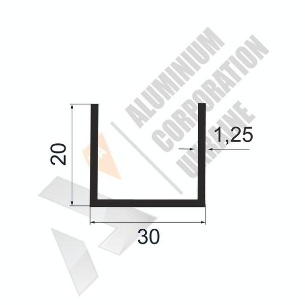 Алюминиевый швеллер П-образный профиль | 13х20х1,25 - АН АВА-5243-71