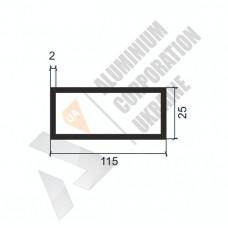 Алюминиевая труба прямоугольная <br> 115х25х2 - АН АК-1319-1487 1