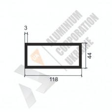 Алюминиевая труба прямоугольная <br> 118х44х3 - АН 9293-1491 1