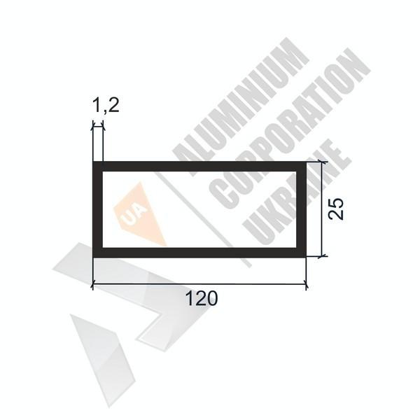 Алюминиевая труба прямоугольная | 120х25х1,2/0,93 - АН 06-0793