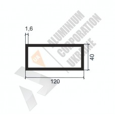 Алюминиевая труба прямоугольная <br> 120х40х1,6 - АН SX-120X40-1505 1