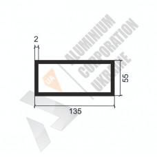 Алюминиевая труба прямоугольная <br> 135х55х2 - АН SX-135x55-1579 1