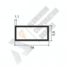 Алюминиевая труба прямоугольная <br> 14х5,8х1,1 - АН АК-1113-12 1