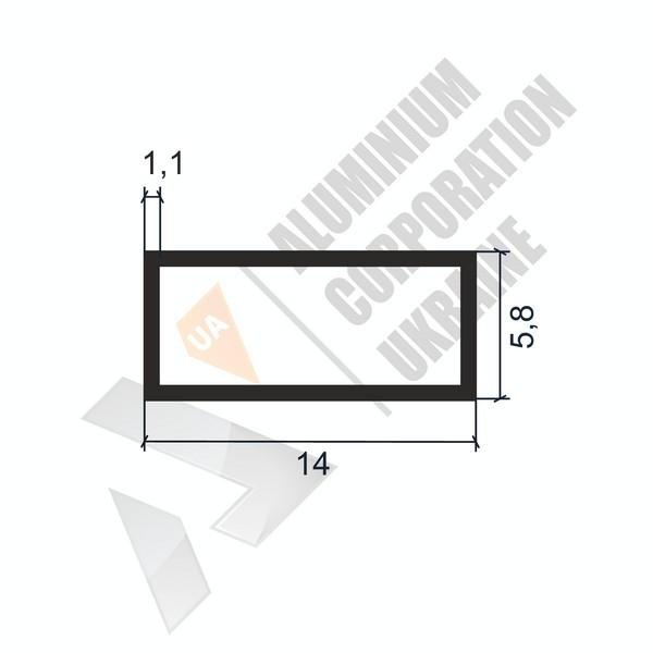 Алюминиевая труба прямоугольная | 14х5,8х1,1 - АН 06-0009