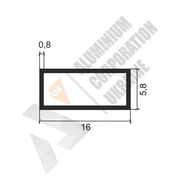 Алюминиевая труба прямоугольная | 16х5,8х0,8 - БП 05-0019
