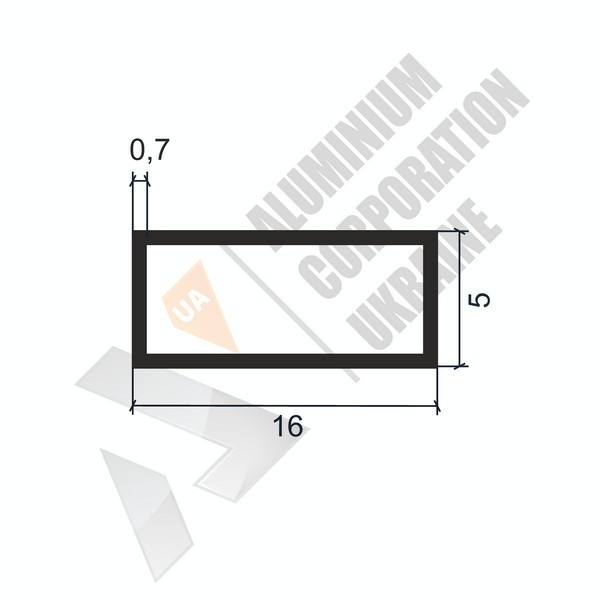 Алюминиевая труба прямоугольная   16х5х0,7 - АН 06-0018