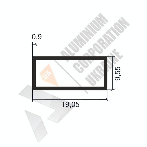 Алюминиевая труба прямоугольная | 19,05х9,55х0,9 - АН АК-1121-48