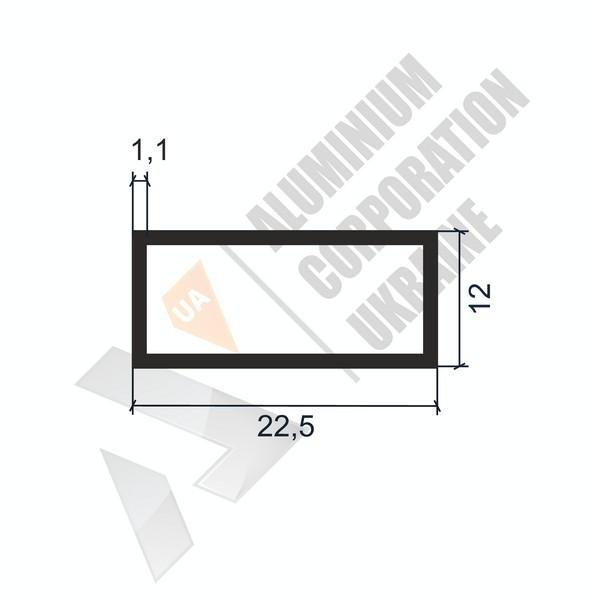 Алюминиевая труба прямоугольная   22,5х12х1,1 - АН 06-0062