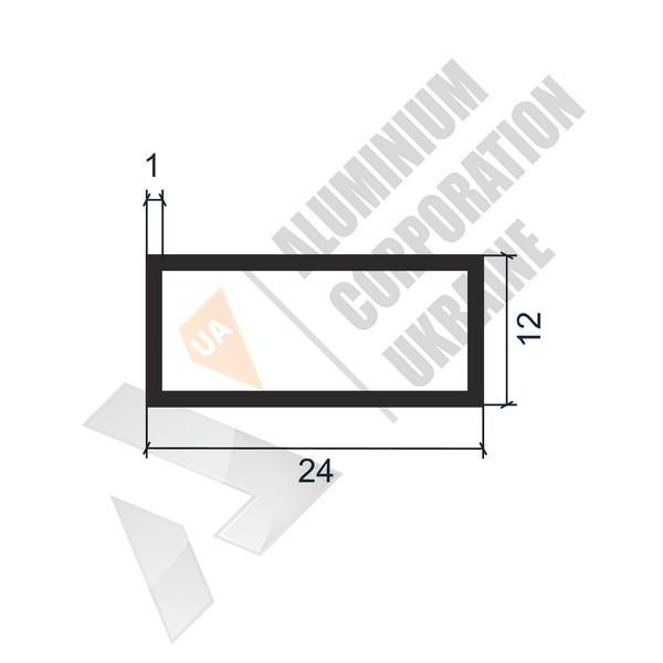 Алюминиевая труба прямоугольная   24х12х1 - АН 06-0066