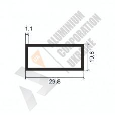 Алюминиевая труба прямоугольная <br> 29,8х19,8х1,1 - АН АК-1135-197 1