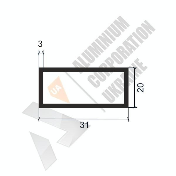 Алюминиевая труба прямоугольная | 31х20х3 - АН 06-0143
