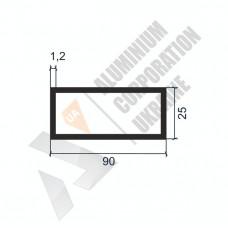 Алюминиевая труба прямоугольная <br> 90х25х1,2 - АН SX-90x25-1209 1