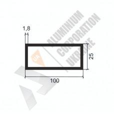 Алюминиевая труба прямоугольная <br> 100х25х1,8 - АН W0066-1281 1