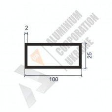 Алюминиевая труба прямоугольная <br> 100х25х2 - АН БПЗ-0340-1283 1