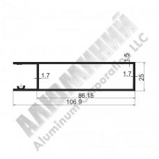 Алюминиевый Бортовой профиль № 4974 - планка верхняя - 100 мм - АН 00361 1