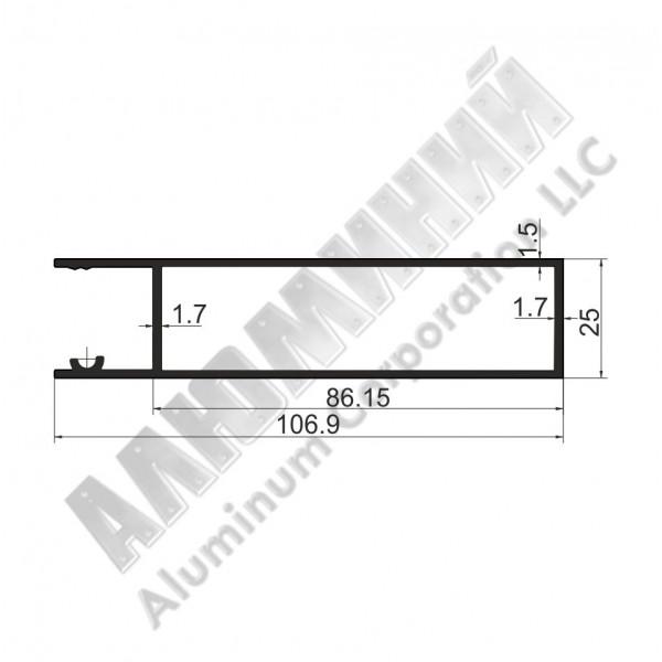 Алюминиевый Бортовой профиль № 4974 - планка верхняя - 100 мм - АН 00361