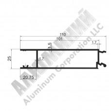 Алюминиевый Бортовой профиль № 4975 - планка средняя - 100 мм - АН 00237 1