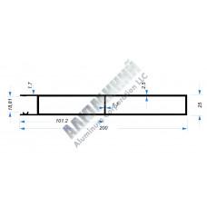 Алюминиевый Бортовой профиль № 51002 - планка верхняя - 200 мм - АН 00235 1