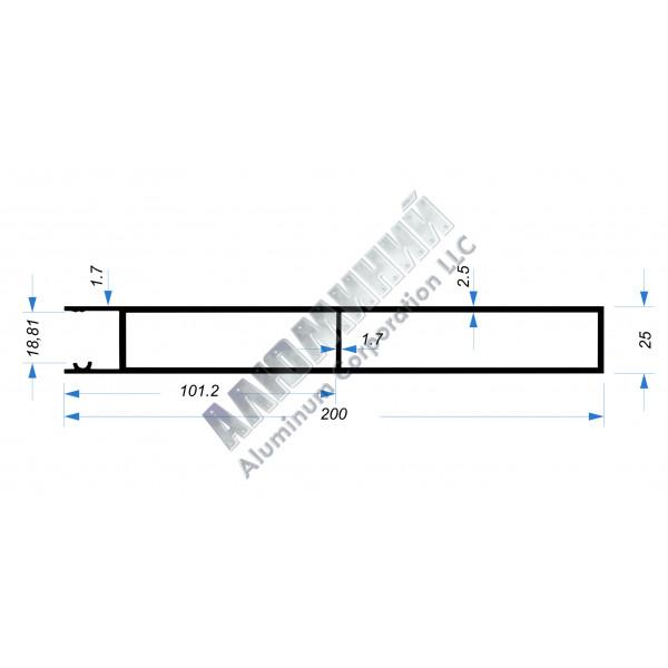 Алюминиевый Бортовой профиль № 51002 - планка верхняя - 200 мм - АН 00235