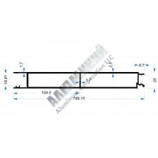 Алюминиевый Бортовой профиль № 51003 - планка средняя - 200 мм - АН 00392 1