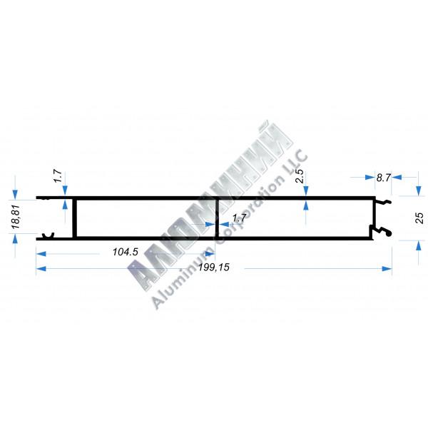 Алюминиевый Бортовой профиль № 51003 - планка средняя - 200 мм - АН 44-0005